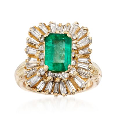 C. 1970 Vintage 1.35 Carat Emerald Ring with 1.75 ct. t.w. Diamonds in 14kt Yellow Gold, , default