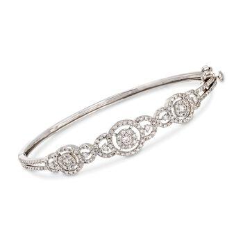 "C. 2000 Vintage 1.55 ct. t.w. Micro-Pave Diamond Bangle Bracelet in 14kt White Gold. 7"", , default"