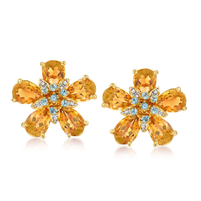 C. 1980 Vintage Ponte Vecchio 10.50 ct. t.w. Citrine, .45 ct. t.w. Blue Topaz and  .10 ct. t.w. Diamond Flower Earrings in 18kt Yellow Gold