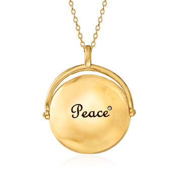 """.15 ct. t.w. CZ Peace Sign Pendant Necklace with Green Enamel in 18kt Gold Over Sterling. 18"""", , default"""
