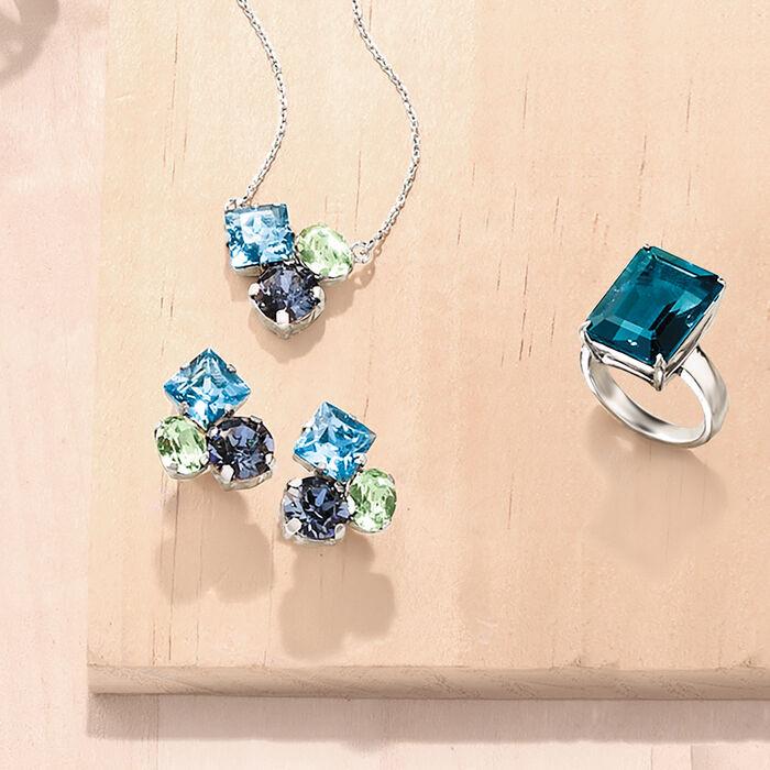 Italian Blue and Green Swarovski Crystal Earrings in Sterling Silver