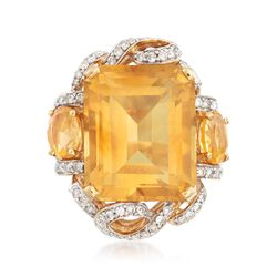 C. 1960 Vintage 19.00 ct. t.w. Citrine and .75 ct. t.w. Diamond Ring in 18kt Yellow Gold. Size 7.5, , default
