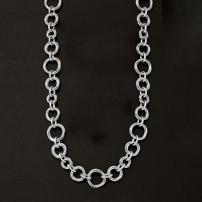 Italian Sterling Silver Multi-Size Oval-Link Necklace