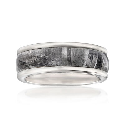 Men's 8mm Tungsten Carbide and Meteorite Center Wedding Ring, , default