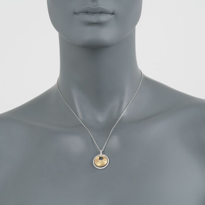 ".44 ct. t.w. Disc and Diamond Pendant Necklace in 18kt Two-Tone Gold. 18"", , default"