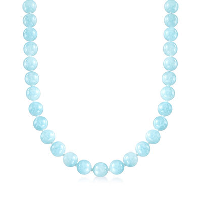 Mazza 425.00 ct. t.w. Aquamarine Beaded Necklace with 14kt Yellow Gold, , default