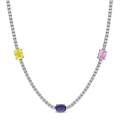 4.60 ct. t.w. Multicolored Sapphire and 2.35 ct. t.w. Diamond Station Necklace in 18kt White Gold