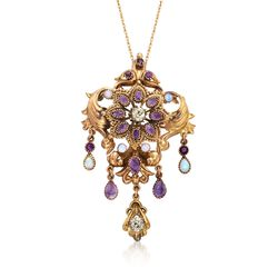 "C. 1950 Vintage Opal and 3.90 ct. t.w. Multi-Stone Pin Pendant Necklace in 14kt and 18kt Gold. 18"", , default"