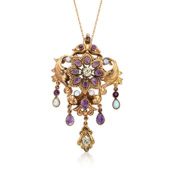 """C. 1950 Vintage Opal and 3.90 ct. t.w. Multi-Stone Pin Pendant Necklace in 14kt and 18kt Gold. 18"""", , default"""