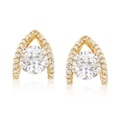 1.80 ct. t.w. CZ Double Loop Earrings in 14kt Yellow Gold, , default