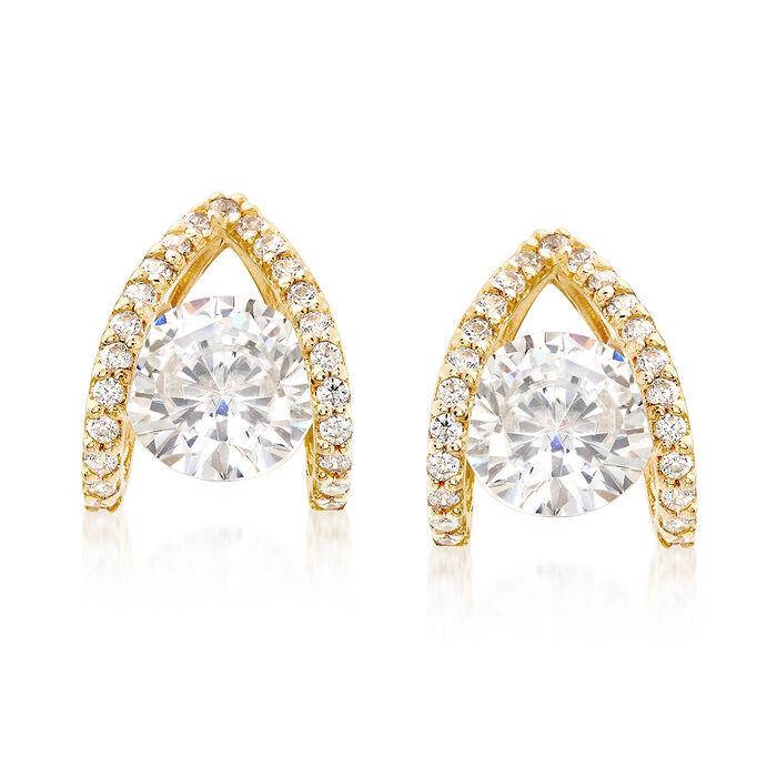 1.80 ct. t.w. CZ Double Loop Earrings in 14kt Yellow Gold