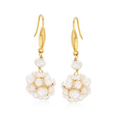 4-6mm Cultured Pearl Cluster Drop Earrings in 18kt Gold Over Sterling