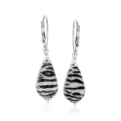 Italian Zebra Murano Drop Earrings in Sterling Silver
