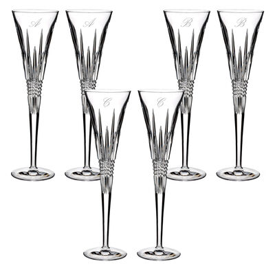 "Waterford Crystal ""Lismore Diamond"" Set of Two Script Initial Toasting Flutes, , default"