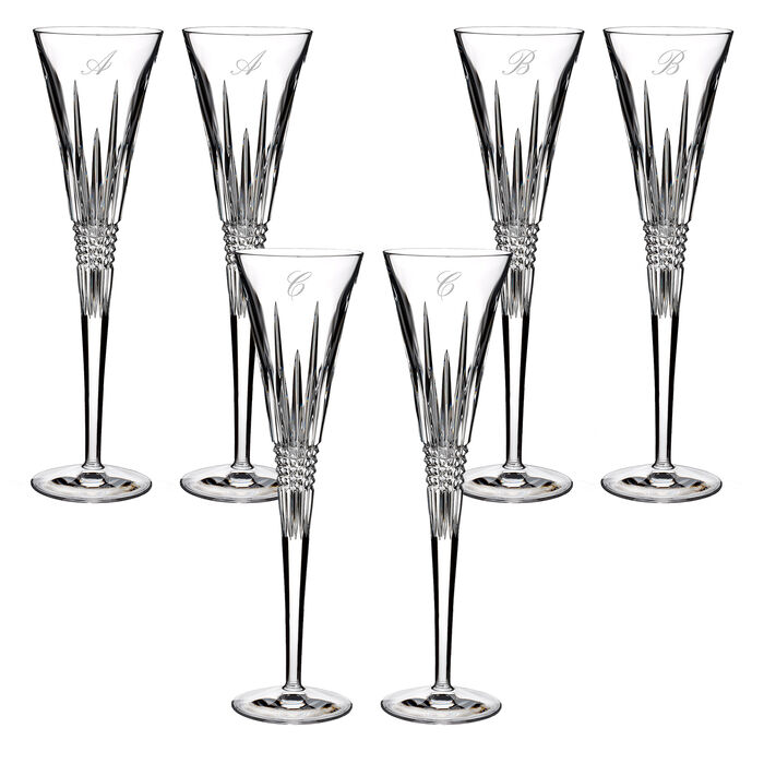 "Waterford Crystal ""Lismore Diamond"" Set of Two Script Initial Toasting Flutes"