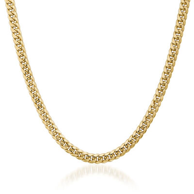 Men's 6.7mm 14kt Yellow Gold Cuban-Link Chain Necklace, , default