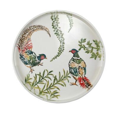 """Vietri """"Fauna"""" Pheasants Handled Round Tray from Italy"""