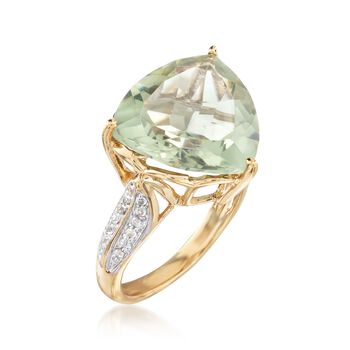 7.50 Carat Green Prasiolite and .20 ct. t.w. White Topaz Ring in 18kt Gold Over Sterling