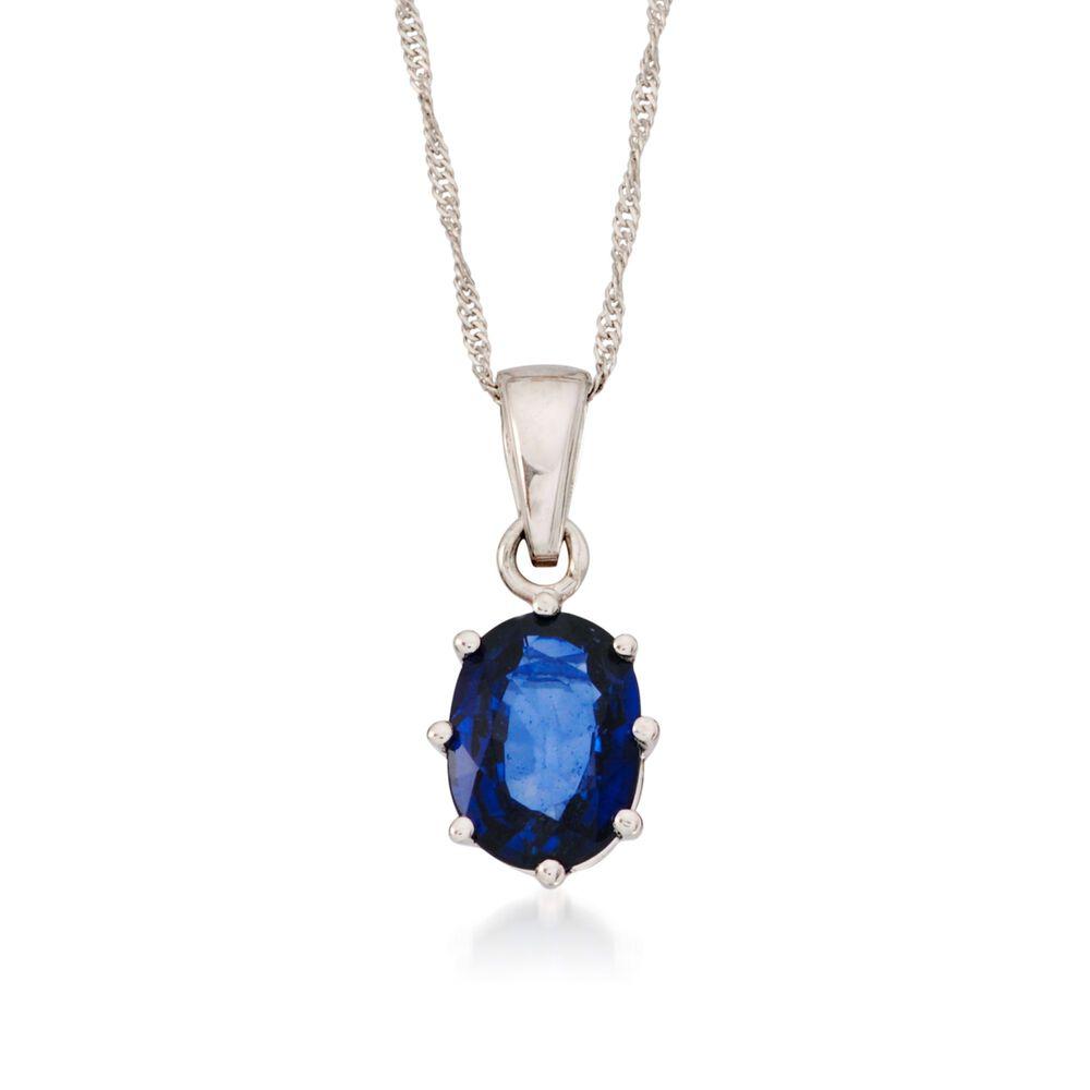3c1801058ba58 1.60 Carat Sapphire Pendant Necklace in 14kt White Gold . 16