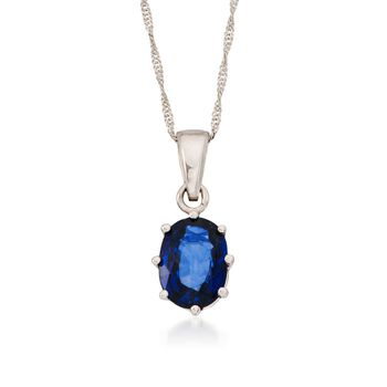 "1.60 Carat Sapphire Pendant Necklace in 14kt White Gold  . 16"", , default"