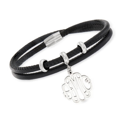 Sterling Silver Monogram Charm Double-Wrap Black Leather Bracelet  , , default