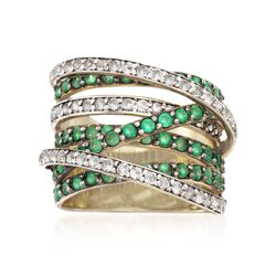 2.10 ct. t.w. Emerald and .60 ct. t.w. White Topaz Highway Ring in 14kt Gold Over Sterling, , default