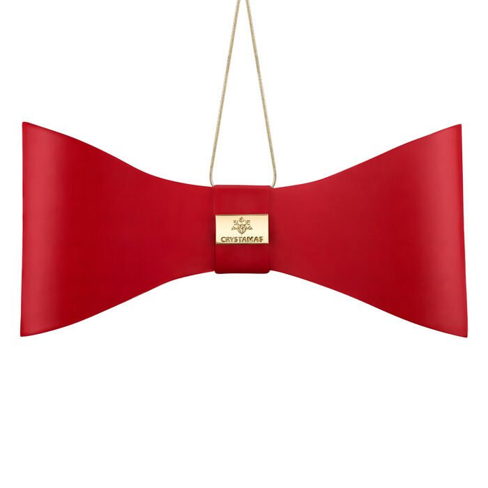 Crystamas Red Lambskin Leather Bow Ornament with Gold Tone Studs