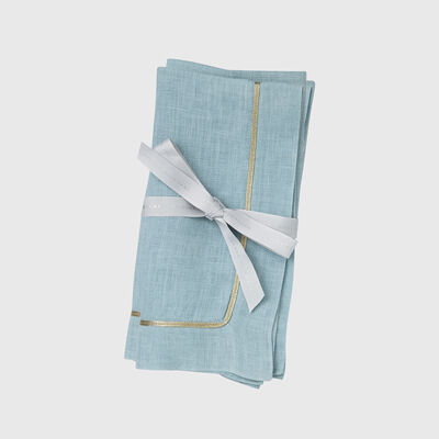 Joanna Buchanan Set of 2 Blue Dinner Napkins with Gold Trim