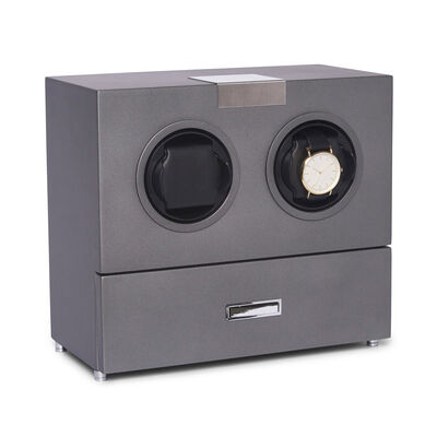 "Brouk & Co's ""Bradford"" Gunmetal Wooden Dual Watch Winder, , default"