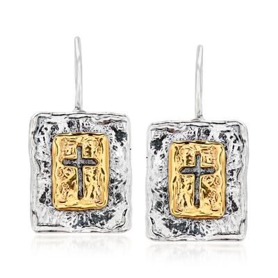 Sterling Silver and 14kt Yellow Gold Cross Drop Earrings