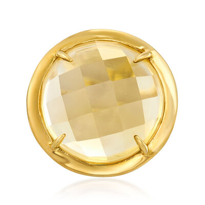 23.00 Carat Citrine Ring in 18kt Gold Over Sterling, , default