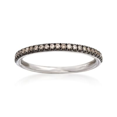Henri Daussi .18 ct. t.w. Light Brown Diamond Wedding Ring in 18kt White Gold