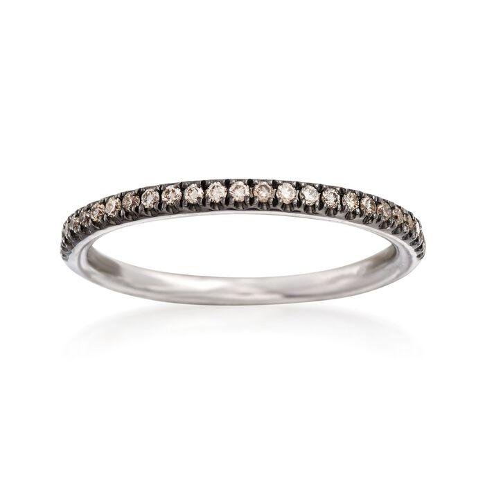 Henri Daussi .18 ct. t.w. Light Brown Diamond Wedding Ring in 18kt White Gold