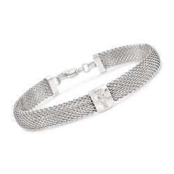 "Stainless Steel Mesh Bracelet With Crystals. 7.5"", , default"