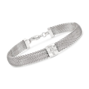 """Stainless Steel Mesh Bracelet With Crystals. 7.5"""", , default"""