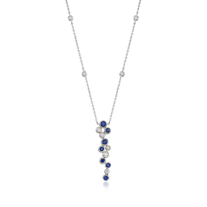 Gregg Ruth .49 ct. t.w. Sapphire and .22 ct. t.w. Diamond Bubble Bezel-Set Necklace in 18kt White Gold