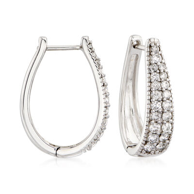 1.00 ct. t.w. Diamond Oval Hoop Earrings in 14kt White Gold, , default