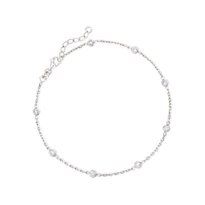 .80 ct. t.w. CZ Station Anklet in Sterling Silver