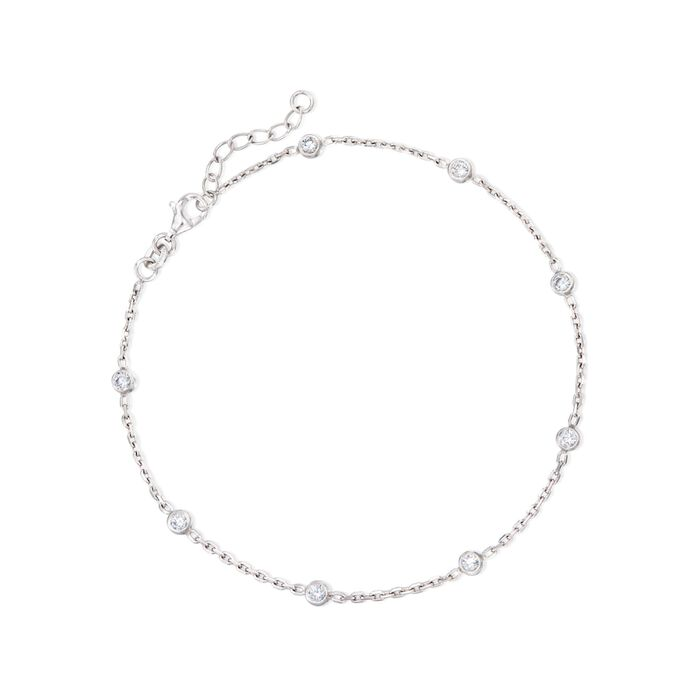 """.80 ct. t.w. CZ Station Anklet in Sterling Silver. 9"""""""