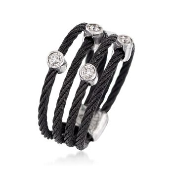 "ALOR ""Noir"" Black Stainless Steel Cable Ring with Diamond Stations and 18kt White Gold. Size 7, , default"
