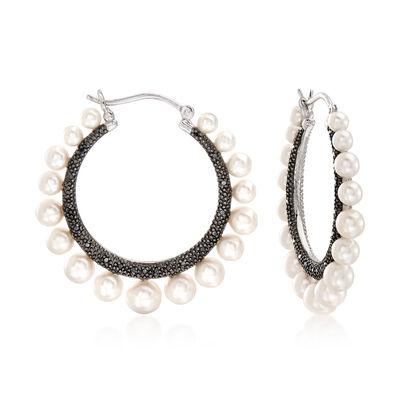 3-5.5mm Cultured Pearl and .15 ct. t.w. Black Diamond Reversible Hoop Earrings in Sterling Silver, , default