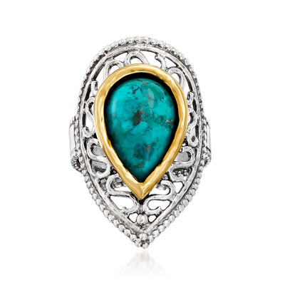 Green Turquoise Ring in Sterling Silver and 14kt Yellow Gold