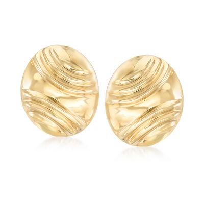 Italian 14kt Yellow Gold Oval Earrings, , default