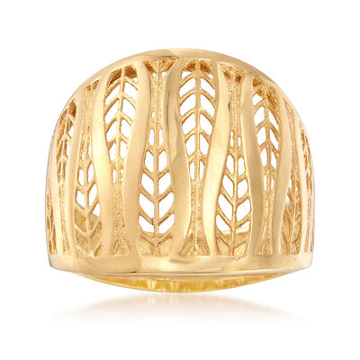 Italian 14kt Yellow Gold Cut-Out Dome Ring, , default