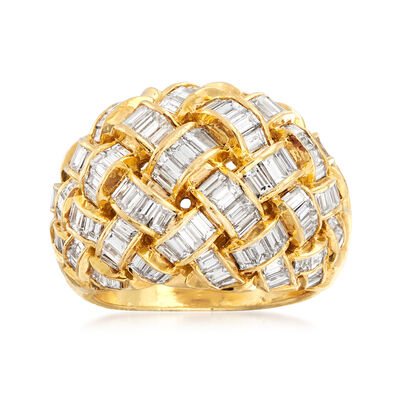 C. 1980 Vintage 6.50 ct. t.w. Diamond Basketweave Dome Ring in 18kt Yellow Gold, , default