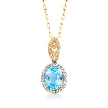 2.80 Carat Blue Topaz and .21 ct. t.w. Diamond Pendant in 14kt Yellow Gold, , default