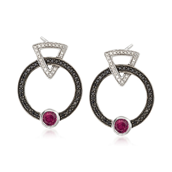 .60 ct. t.w. Rhodolite Garnet and .30 ct. t.w. Black Spinel Earrings with Diamonds in Sterling Silver