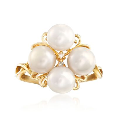 6-6.5mm Cultured Pearl Cluster Ring with Diamond Accents in 14kt Gold, , default