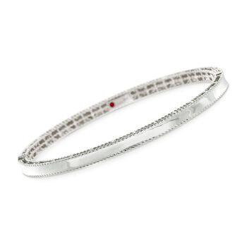 "Roberto Coin .61 ct. t.w. Diamond ""Symphony"" Princess Bangle Bracelet in 18kt White Gold. 7"", , default"