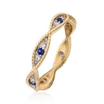 .12 ct. t.w. Diamond and .10 ct. t.w. Sapphire Milgrain Twist Eternity Band in 14kt Yellow Gold, , default